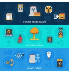 Nuclear energy flat banners set vector