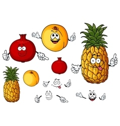 Fresh peach pineapple and pomegranate fruits vector