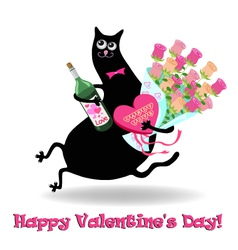 Valentines day card with cat vector