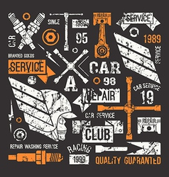 Car service badges in retro style vector
