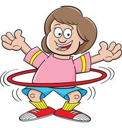 Cartoon girl using a hula hoop vector