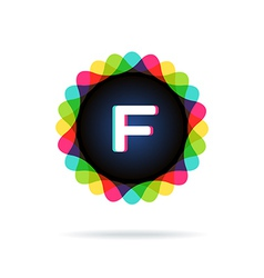 Retro bright colors logotype letter f vector