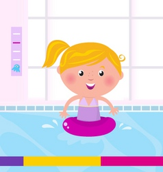 Blond child in swimming pool vector