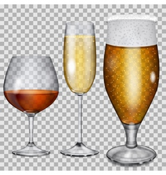 Transparent glass goblets with beverages vector
