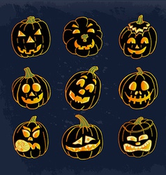 Collection of icons with a terrible pumpkin faces vector
