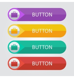 Flat buttons with suitcase icon vector
