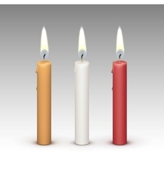 Candles flame fire light isolated on background vector