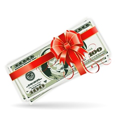 Dollar bills with ribbon and bow vector