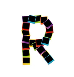 Alphabet r with colorful polaroids vector