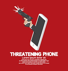 Hand with gun threatening phone concept vector