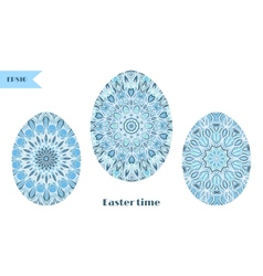 Set of easter eggs decorated with ornament vector