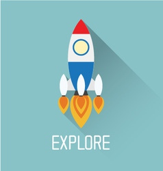 Rocket symbol with explore concept vector