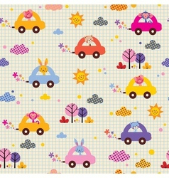 Cute animals driving cars note book paper kids vector