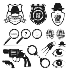 Private detective set vector
