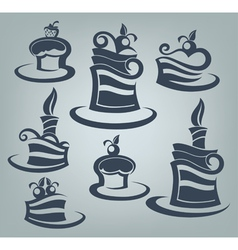 Cakes and sweets collection of delicious symbols vector