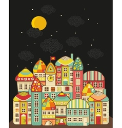 Cute night town vector