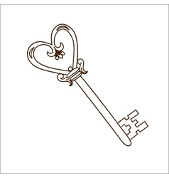 Romantic heart shaped key isolated on white vector
