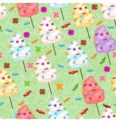 Childrens seamless pattern from cotton candy vector