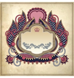 Floral frame on grunge paper background page vector