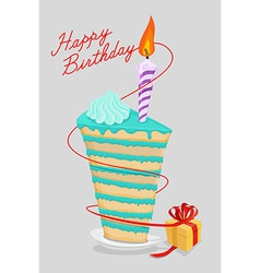 High cake birthday with candle piece of cake on a vector