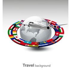 Travel background globe with a plane and a strip vector