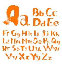 Handwritten by a textured brush alphabet vector
