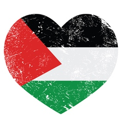 The state of palestine retro heart shaped flag vector