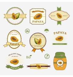 Papaya set of label design vector