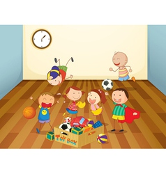 Kids playing in a room vector