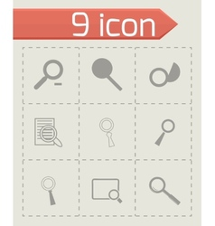 Magnufying glass icons set vector