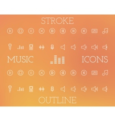 Music outline and stroke icons set vector