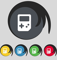 Tetris icon sign symbol on five colored buttons vector