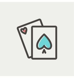 Playing cards thin line icon vector