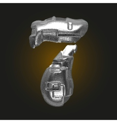 Metal figure 7 vector
