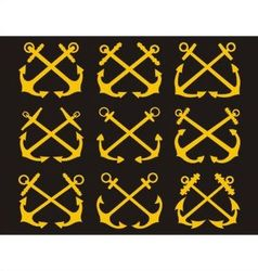 Crossed anchors set vector
