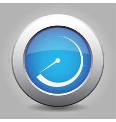 Blue metal button with dial vector