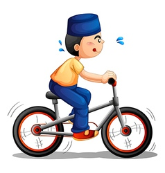 A boy biking vector