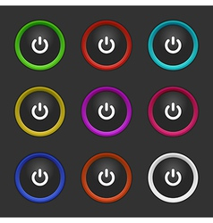 Colored power buttons vector
