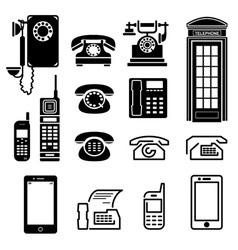 Telephone icons set vector