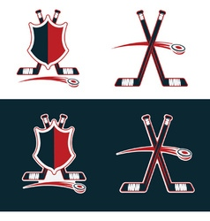 Set of hockey sport crests vector