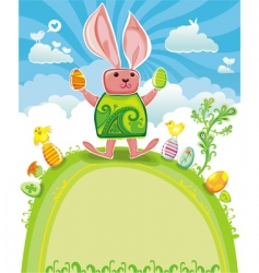 Easter card with funny rabbit vector
