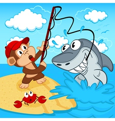 Monkey on fishing vector