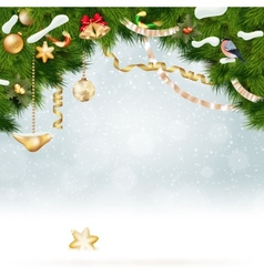 Christmas background with fir and gold balls vector
