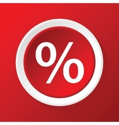Percent icon on red vector