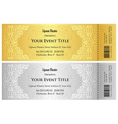 Luxury golden and silver theater ticket with vector