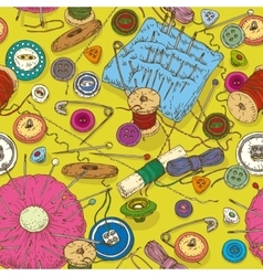 Seamless pattern with sewing supplies tools and vector