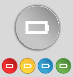 Battery empty icon sign symbol on five flat vector
