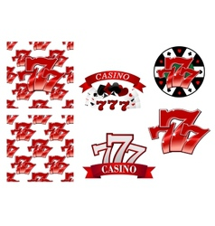 Casino and gambling emblems or badges vector