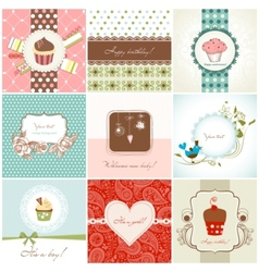 Greeting cards and cupcakes set vector