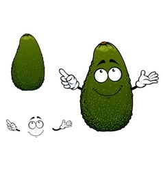 Green tropical avocado fruit cartoon character vector